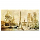 Vintage Decorations World Landmarks Buildings Canvas Print Paris Sacré-Cœur Basilica Eiffel Tower and Cathédrale Notre Dame de Paris 20 x 36 Inch