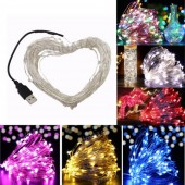 5M 10M USB Led String Lights DC 5V USB Powered Led Fairy Light Warm White Silver Wire