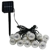 Waterproof 20 LED Solar Powered Fairy Light Moroccan Lantern Silver Metal Globe String Lights Lamp For Christmas Tree