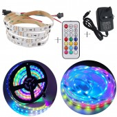 5M WS2811 LED Strip DC12V 30/60Leds/m RGB Addressable LED Strip SMD5050 Pixels Strips 21Key RF Controller 3A Power Adapter