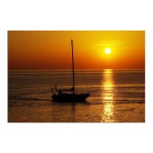 Landscape Sunset and Boat Modern Canvas Print Giclee Print on Canvas for Room Decoration Framed Ready to Hang 24 x 36 Inch