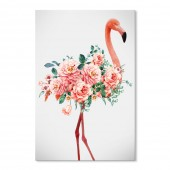 Canvas Wall Art Nordic Wall Pictures Graceful Flamingo & Blossom Giclee Print on Canvas Stretched 16x24 Inch