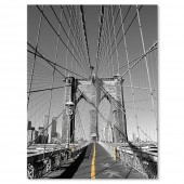 Modern Home Office Wall Decoration Giclee Print Black and Yellow New York City Brooklyn Bridge Picture Photo Canvas Print 24 x 32 Inch