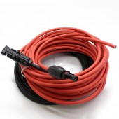 1 Pair 5 Meter 1x4mm2 Solar Cable With Connector, Red Female, Black Male , MC-4 Solar Panel Cable Connector