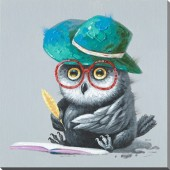 Owl In A Hat Hand Painted Oil Painting With Stretched Frame Wall Art 24 x 24 Inch