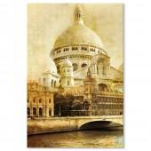 Vintage Style Retro Picture Canvas Print Paris Sacré-Cœur Basilica Giclee Print 24 x 36 Inch