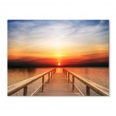 Modern Canvas Inkjet Print Art Landscape Pier Sunset Wall Pictures Giclee Print on Canvas Stretched 24 x 32 Inch
