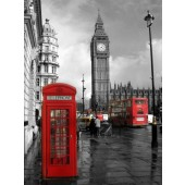 Modern Black and White Architecture Print London Telephone Booth and Red Bus Canvas Print Giclee Artwork 24 x 32 Inch