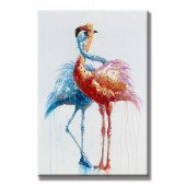 Red Crowned Crane Hand Painted Oil Painting With Stretched Frame Wall Art 24 x 36 Inch