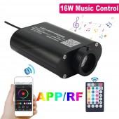 APP Control 16W Musical Flash Fiber Optic Light Engine Car Star Ceiling Light Source RF Remote Sound Control DC12V LED Driver