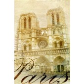 Vintage Canvas Wall Art Cathédrale Notre Dame de Paris Retro Picture 24 x 36 Inch