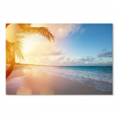 Modern Canvas Inkjet Print Art Landscape Sunrise on Beach Wall Pictures Giclee Print on Canvas Stretched 24 x 36 Inch