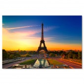 Travel City Poster Print Paris Eiffel Tower Cityscape Canvas Print 24 x 36 Inch