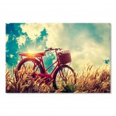 Canvas Wall Art Vintage Poster Landscape Bicycle in Summer Wall Pictures Giclee Print on Canvas Stretched 24 x 36Inch