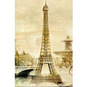 Vintage Style Home Décor Canvas Print Eiffel Tower in Paris Giclee Print Stretched Gallery Wrap Ready to Hang 24 x 36 Inch
