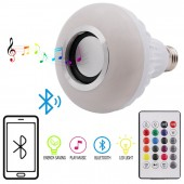Wireless Bluetooth LED Bulb Light Speaker 12W RGB Smart Music Play Lamp + 24Key Remote Controller