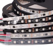 WS2811 led strip 30 leds/m,10 pcs ws2811 ic/meter,DC12V White/Black PCB, 2811 led strip Addressable Digital 5m
