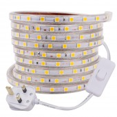 UK Switch Plug 220V SMD5050 60LEDs/m LED Strip Waterproof Flexible Ribbon Light