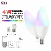 Zigbee Zll Led 4W RGB+CCT Candle Light Bulb Lamp Smart Phone APP Control AC100-240V E12/E14 Work With Amazon Echo Free Shipping