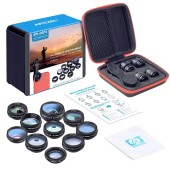 10 In 1 APEXEL APL-DG10 Phone Camera Lens Kit Fisheye Wide Angle Macro Telescope For Smartphone
