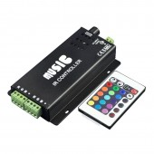 12/24V 180W IR Remote Control Audio Sound Sensitive LED RGB Music Controller