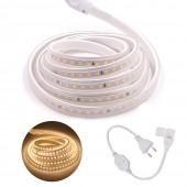 220V SMD2835 LED Strip High Brightness 120LEDs/m Ribbon Tape Flexible EU Plug Waterproof Light