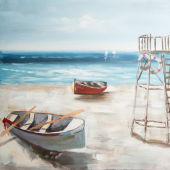 Beach and ship Hand Painted Oil Painting with Stretched Frame Wall Art 32 x 32 Inch