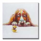 Big Glasses Funny Dog Hand Painted Oil Painting with Stretched Frame Wall Art 32 x 32 Inch
