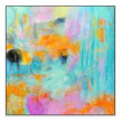 Cadmium Orange Hand Painted Oil Painting with Stretched Frame Wall Art 32 x 32 Inch