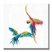 Colorful birds Hand Painted Oil Painting with Stretched Frame Wall Art 32 x 32 Inch