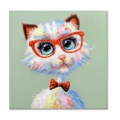 Colorful Fox and red eye frames Hand Painted Oil Painting with Stretched Frame Wall Art 32 x 32 Inch