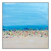 Cote D Azur Hand Painted Oil Painting with Stretched Frame Wall Art 32 x 32 Inch