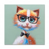 Cute Fox and black glasses frame Hand Painted Oil Painting with Stretched Frame Wall Art 32 x 32 Inch