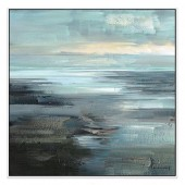 Open Horizons Hand Painted Oil Painting with Stretched Frame Wall Art 32 x 32 Inch