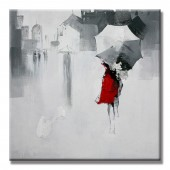 Rain And Pedestrians Hand Painted Oil Painting With Stretched Frame Wall Art 32 x 32 Inch