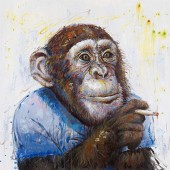 Smoking chimps on the side Hand Painted Oil Painting with Stretched Frame Wall Art 32 x 32 Inch