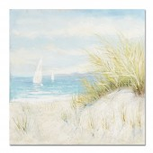 The blue sky and white clouds Hand Painted Oil Painting with Stretched Frame Wall Art 32 x 32 Inch
