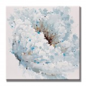 White flower Hand Painted Oil Painting with Stretched Frame Wall Art 32 x 32 Inch