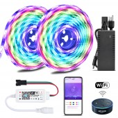 Color Chasing Alexa LED Strip Light Kit 32.8Ft 10m Flexible Addressable RGB LED Rope Lights Working with WiFi SPI Music Timer Controller Support iOS & Android Amazon Alexa and Google Home