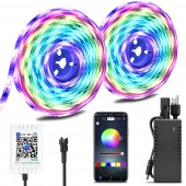 New Upgraded 32.8 Foot 10 meter Waterproof IP65 Dream Color Chasing Digital Addressable RGB Flexible LED Strip Light Kit DC12V 300LEDs Bluetooth Music Controller For Home Party Eaves Car Decoration