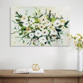 3D Knife Palette Floral Heavy Texture flowers Blossom Oil Painting Stretched on Canvas 24 x 36 Inch