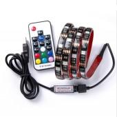 5050 RGB USB LED Strip TV Background Lighting Kit Cuttable With 17Key RF Controller 1M/2M Set