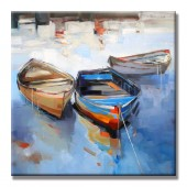 A Drifting Ship Hand Painted Oil Painting With Stretched Frame Wall Art 24 x 24 Inch