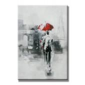 A Stroll In The Rain Hand Painted Oil Painting with Stretched Frame Wall Art 24 x 36 Inch