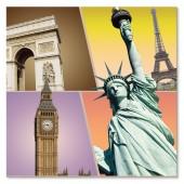 Modern City Landmark Architectures Artworks Arc de Triomphe Eiffel Tower London Big Ben Statue of Liberty  Picture on Canvas Print 24 x 24 Inch