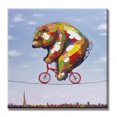 Bears and bicycles Hand Painted Oil Painting With Stretched Frame Wall Art 24 x 24 Inch