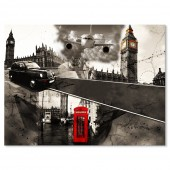 Modern Giclee Canvas Prints London Black and White Red Telephone Booth and Big Ben Paintings on Canvas Stretched and Framed Ready to Hang  24 x 32 Inch