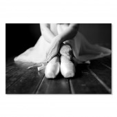 Picture Print On Canvas Black and White Ballet Shoes II Paintings Wall Art Ready to Hang 16 x 24 Inch