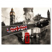 Black and White Canvas Print Big Ben and Red Telephone Booth in London Modern City Landmark Buildings 24 x 32 Inch