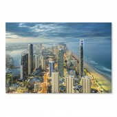 Modern Canvas Inkjet Print Art Landscape Buildings Gold Coast Wall Pictures Giclee Print on Canvas Stretched 24 x 36 Inch